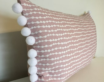 Little Spots & Stripes Cushion in blush pink