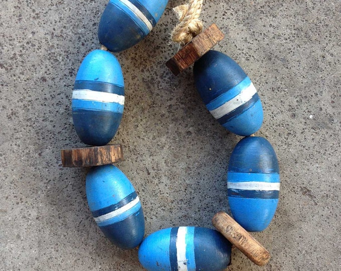 Beach Decor Vintage Blue, White, Lobster Buoy Nautical Wooden by SEASTYLE