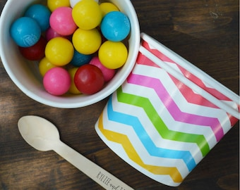 FREE U.S. Shipping QTY 25 Ice Cream Cups and Printed Message Spoons - Choose Your Cup Color and Size - Plus Wooden Spoons