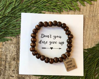 Never ever give up - inspirational beaded bracelet - word of encouragement -  Love Squared Designs