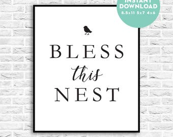 Bless This Nest Printable, Wall Print, Instant Download, Happy New Home, Housewarming Gift, 8.5x11, 5x7, 4x6