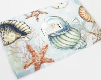 SEASHELLS Light Switch Cover Plate Switchplate Bathroom Decor Nautical Decor Sea Life