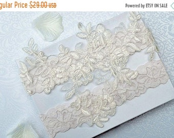 ON SALE Wedding Garter Set, Bridal Garter Set, Garter,  Ivory Lace Garter, Alencon Garter Belt, Style -G 50575