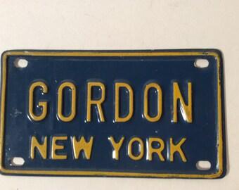 Vintage Mini License Plate New York GORDON