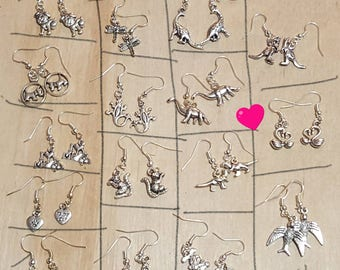 Dangle Earrings-Silver Tone-pick 3-dogs, dinosaurs, dragonfly, mouse, kangaroo, rabbit, swan, etc - Free Shipping!