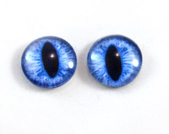 16mm Blue Cat or Dragon Glass Eye Cabochons - Evil Eyes for Doll or Jewelry Making - Set of 2