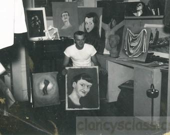 vintage photo 1960s Mid Century Outsider Artist in His Studio w Paintings Poleroid
