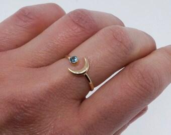 Croissant de lune lune - bijou céleste - 14k or et pierres précieuses bague - cadeau pleine conscience délicate bague - minimaliste - pour elle