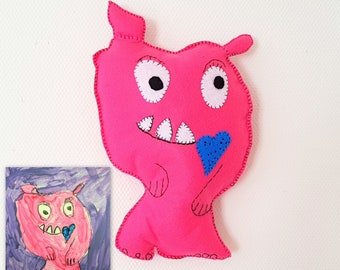 Pink Monster Toy, Custom Toy Made after Kids Drawing, Pink Stuffed Toy, Pink Monster Party, Birthday Gift, Plush Toy, Personalized Felt Toy