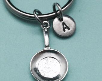 Frying pan keychain, frying pan charm, pan keychain, personalized keychain, initial keychain, initial charm, customized, monogram