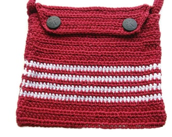 Crochet Shoulder Purse Mini Bag Purse Pouch OOAK Handmade Small Red with White stripes Crochet  Mini Bag