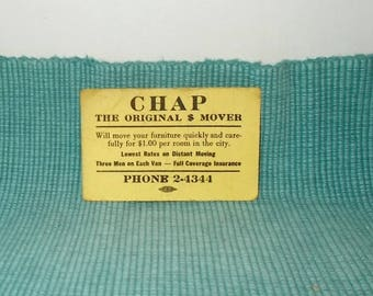 Vintage 1940s  or 1950s Business Card-CHAP-the Original Mover-Phone 2-4344-Free SHIPPING!