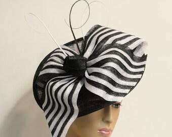 Black/white Sinamay Kate Middleton Fascinator, Kentucky Derby fascinator, English Royal Hat, Wedding Hat, Church Hat, Formal Hat, Dressy Hat