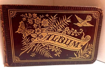 Antique Victorian Autograph Book, Circa 1882! Beautiful penmanship with Victorian Scrap, too!
