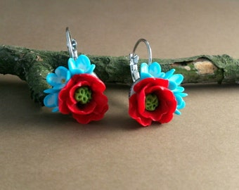 Red Poppy Earrings Poppy Earrings Red Poppies Red Flowers Polymer Earrings Red Earrings Accessories girl
