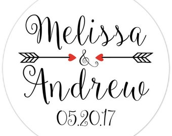 Custom Wedding Stickers, Bridal Shower Labels, Arrows with Fun Font, Personalized for YOU