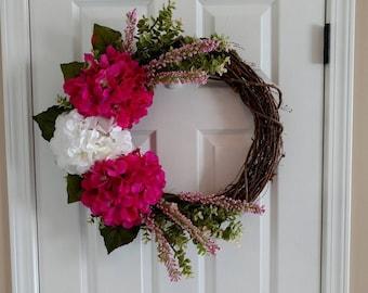 Spring Hydrangea Wreath.Pink & White Wreath.Pink Hydrangea Wreath.Monogram Wreath.Front Door Wreath.Summer Wreath.Mother's Day Gift.Wreath