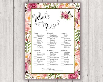 BRIDAL SHOWER GAME, Whats in Your Purse, Printable Bridal Shower Game, Boho Chic Bridal Party Game, Printable Game Card, B100