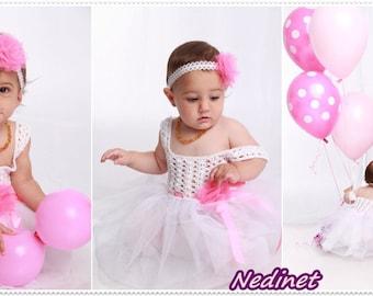 Crochet baby dress, crochet tulle dress, headbands pattern, crochet baby dress pattern, crochet birthday dress, 0-6 years PATTERN, pdf
