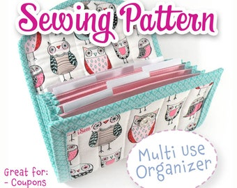 PDF SEWING PATTERN - Accorion Style Cash / Coupon / Expense / Receipt OrganizerFlexible Use Customizable Coupon Wallet diy Instant Download