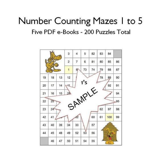 Number Maze Puzzles Count by Numbers 1-5 Educational Instant