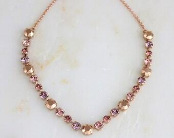 Rose gold necklace, Crystal Bridal necklace, Wedding jewelry, Swarovski crystal necklace, Blush crystal necklace, Bridesmaid necklace