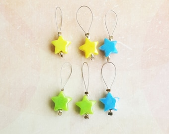 Set of 6 knitting markers for needles up to 10 mm star beads