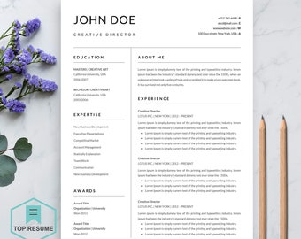 "New Resume Template | CV | Professional & Creative Resume | Ms Word Resume | Resume + Cover Letter | Instant Download Resume | ""John"""