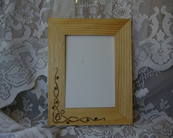 """5""""x 7"""" Wood burned and hand painted picture frame"""