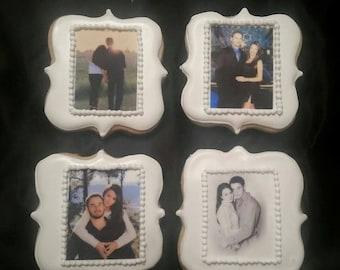 Custom Photo Cookies with Edible Image - Anniversary, Wedding, Shower