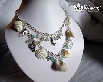 Mermaid Ocean Fairy Seashells Silver Necklace