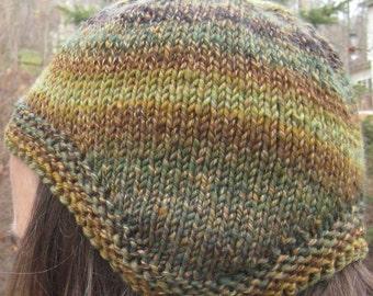 wool earflap hat, hand knit, hand spun, size small