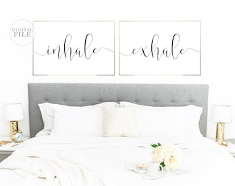 INHALE EXHALE - (2) 36x24 Jpegs - Bedroom Decor by Dear Lily Mae - You Print Printable Wall Art - Personal Use Only