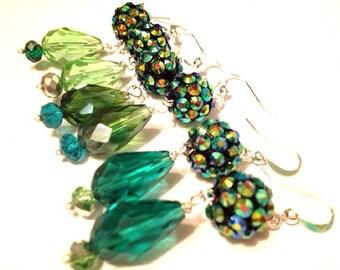 KEY LIME Mermaid's Garden rhinestone and crystal drop earrings