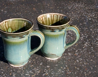16 oz. mug, Ocean Green Drip, Etched Stripes, Green with brown, extra large, Stoneware, Hand Painted, Ready To Ship