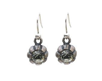 Small Dangle Earrings with Black Diamond Swarovski Crystal