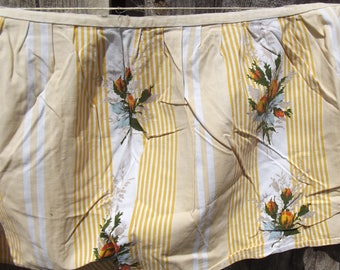Vintage French 1940's Summer Ticking Yellow roses Sunshine Valence Shelf Trim