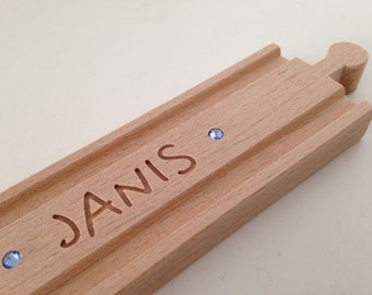 Personalized BRIO Wooden Train Track (with SWAROVSKI Elements) straight