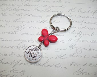 Zodiac astro sign with butterfly personnalized keychain / keyring