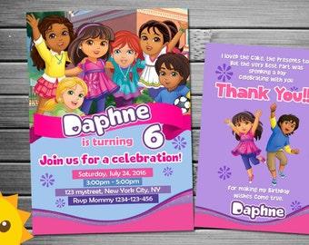 Dora and friends Invitation, Dora and friends Birthday, Dora and friends Party, Dora and friends Invites, Dora and friends Printables