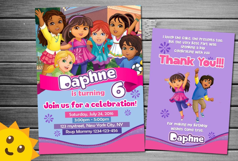 Dora and friends Invitation Dora and friends Birthday Dora