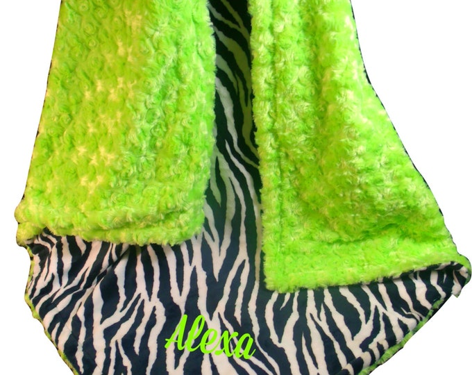 Green and Black Zebra Minky Baby Blanket, Kiwi Rose Swirl Baby Blanket, Black and Lime Minky Blanket, Lime Minky Dimple Dot, Personalized