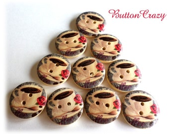10 Coffee Tea Cup Buttons Wood Buttons 3/4 Inch for Sewing Scrapbooking