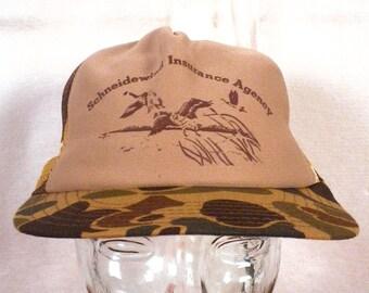 vtg 80s Schneidewind Insurance Camouflage Trucker Hat Cap snapback duck hunting