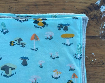 Baby Blanket for Girl or Boy - Sky Blue and Teal Mushroom Print with Grey Faux-Chenille Backing