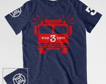 Firetruck birthday shirt toddler fire truck birthday shirt Toddler birthday firetruck t-shirt