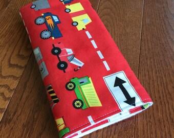 Burp Cloth - Baby Boy Gift - Made to Order- Red Truck Modern print - Modern Baby - Eco Friendly Baby - Burpie - Baby Shower