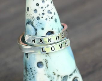 Wander Love Ring. Traveler Ring. Gift For Explorer. Sterling Ring. Wander Ring. Travel Jewelry. Jewelry for Traveler. Sterling Silver Ring.