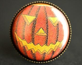 Jack-O-Lantern Ring. Halloween Ring. Orange Pumpkin Ring. Vintage Print Button Ring. Adjustable Ring. Bronze Ring. Halloween Jewelry.