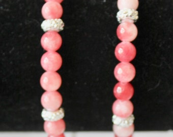 Pink Coral and Silver Spacer Accent Bead Bracelets